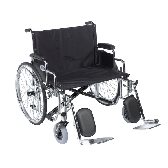 Sentra EC Heavy Duty Extra Wide Wheelchair, Detachable Desk Arms, Elevating Leg Rests, 30