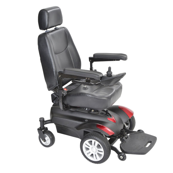 Titan Transportable Front Wheel Power Wheelchair, Full Back Captain's Seat, 22