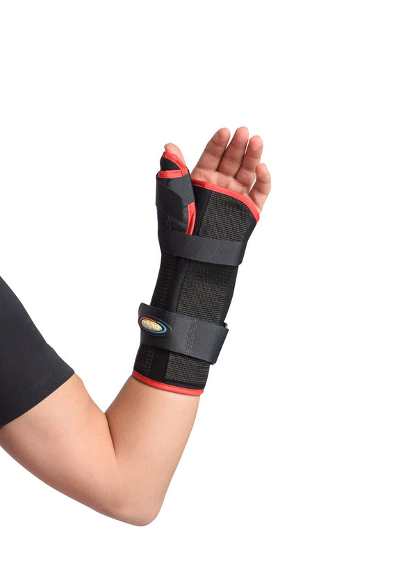 MAXAR Wrist Splint with Abducted Thumb - Right Hand - Black w/Red Trim