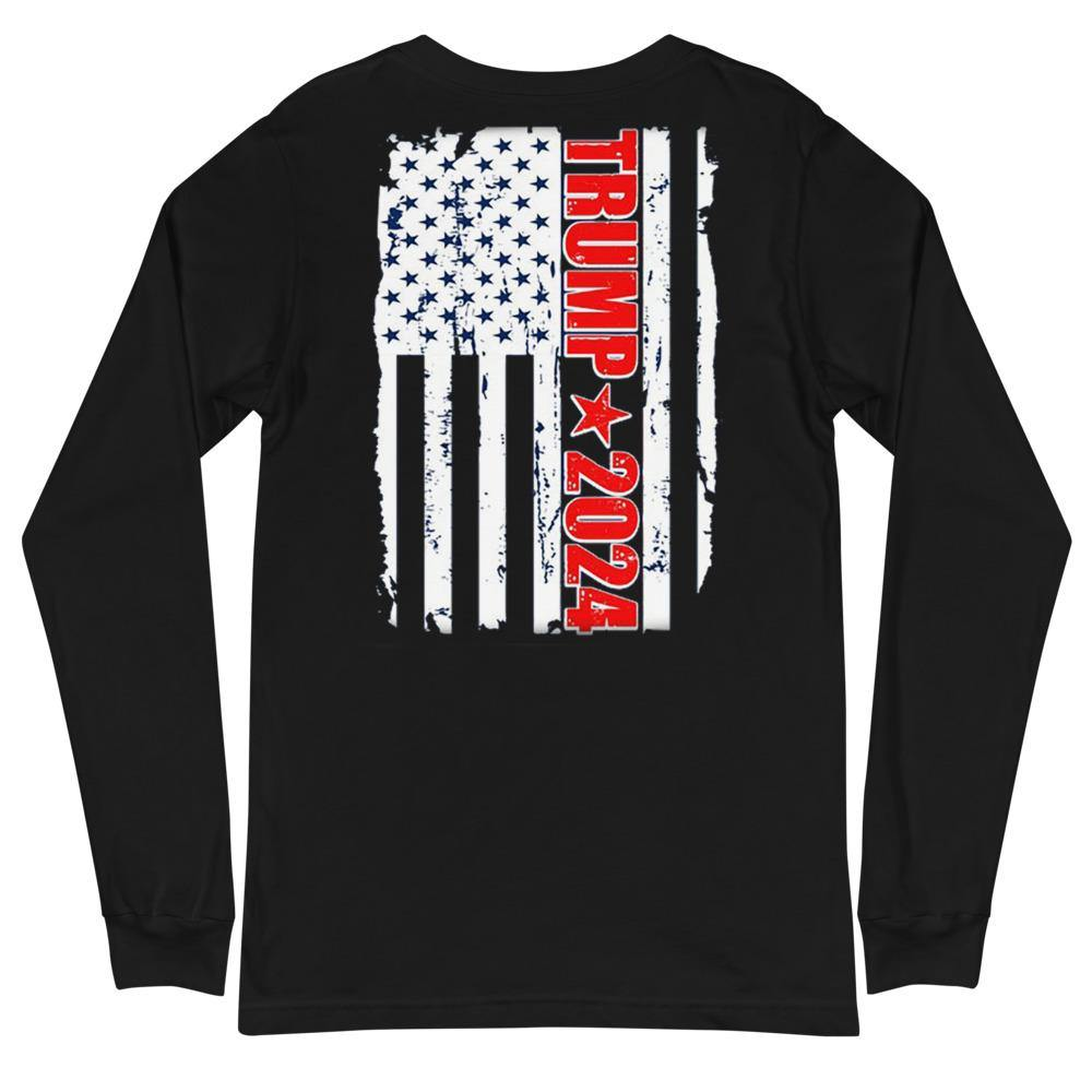 Trump 2024 Flag Back Print Unisex Long Sleeve Tee