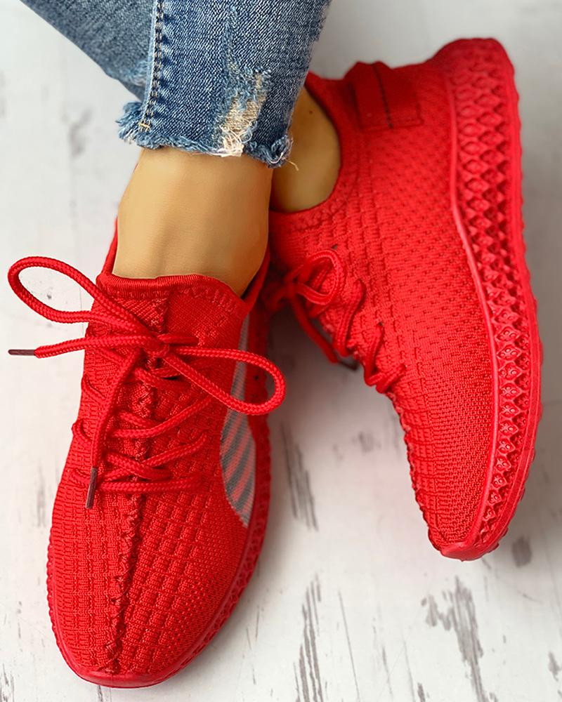 Breathable Red Stretch Sneakers EST 1995