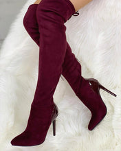 Load image into Gallery viewer, Suede Over the Knee Boot w/Patent Heel