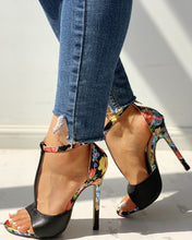 Load image into Gallery viewer, Floral Heel - Peep Toe