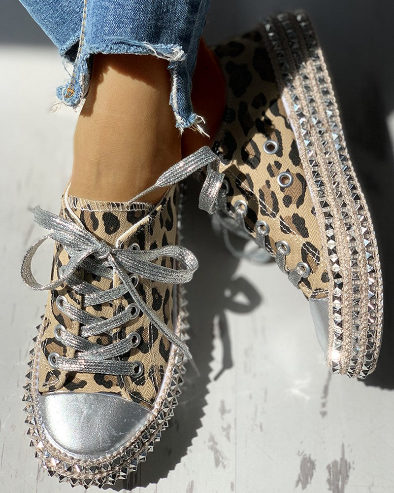 Embellished Leopard Print Low Top Sneaker