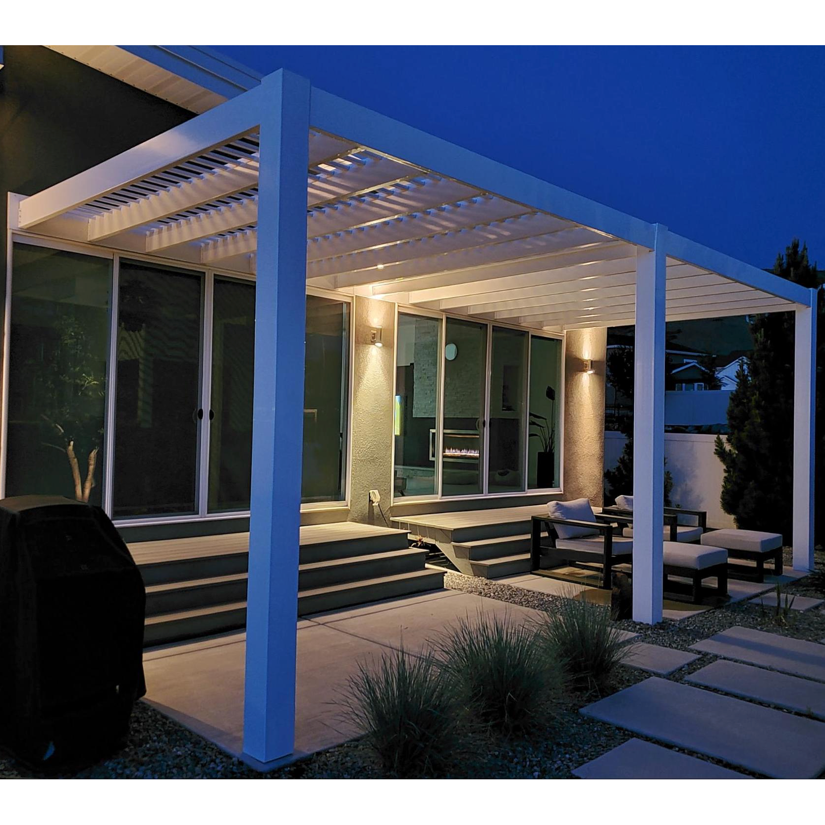 Modern Attached 3-Post Pergola at Night