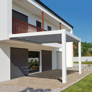 Modern Attached White Pergola by Sunset Pergola Kits
