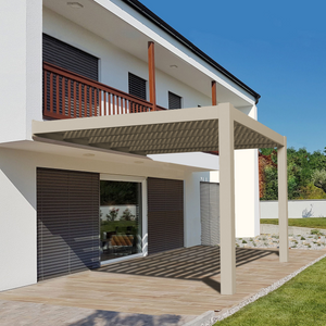 Modern Attached Tan Pergola
