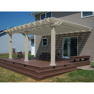 Traditional Attached Vinyl Pergola With 3 Posts - Tan
