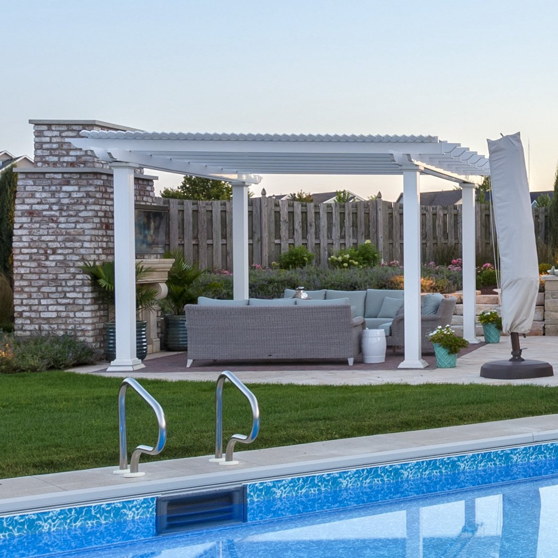 Traditional Freestanding White Pergola by Sunset Pergola Kits