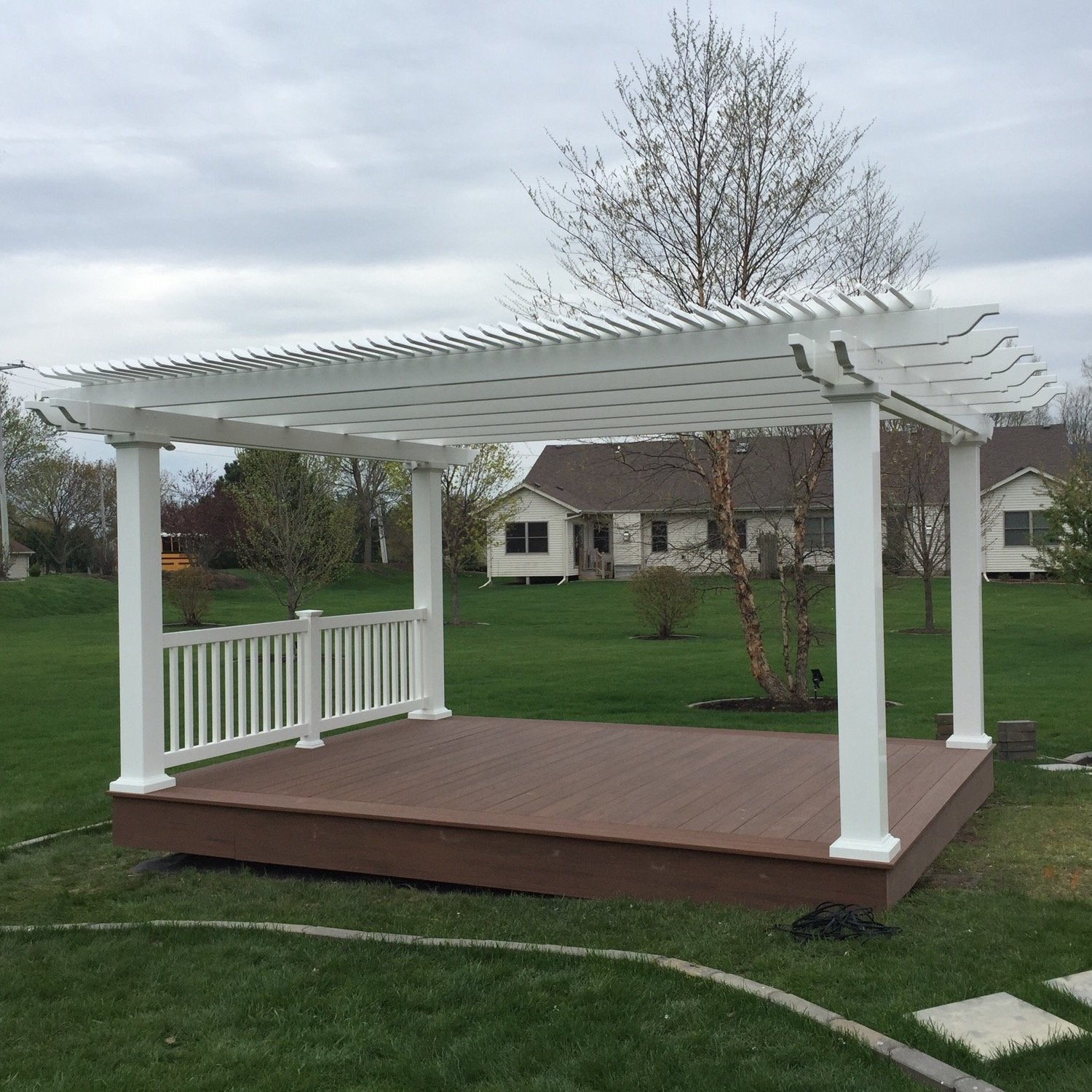 Freestanding Traditional Pergola on Standalone Trex Deck