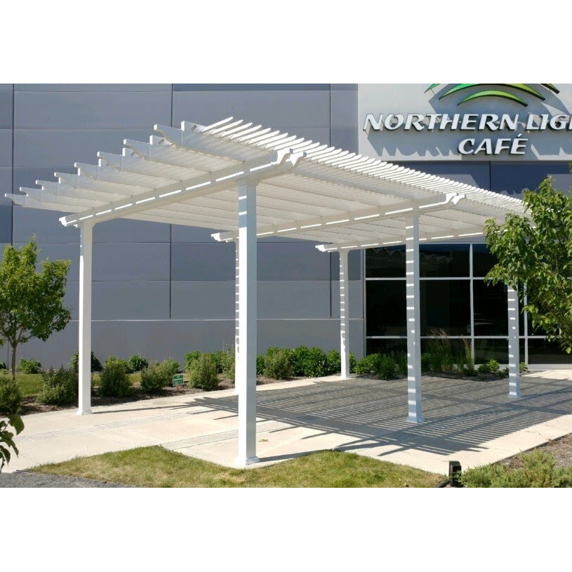 Traditional Freestanding White Pergola with 6 Posts – by Sunset Pergola Kits