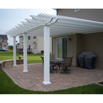 Traditional Attached White Pergola with 3 Posts