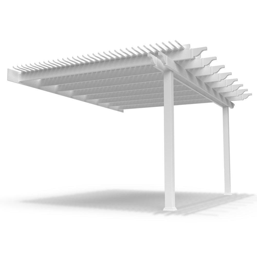 Attached 2-Post Pergola White BG