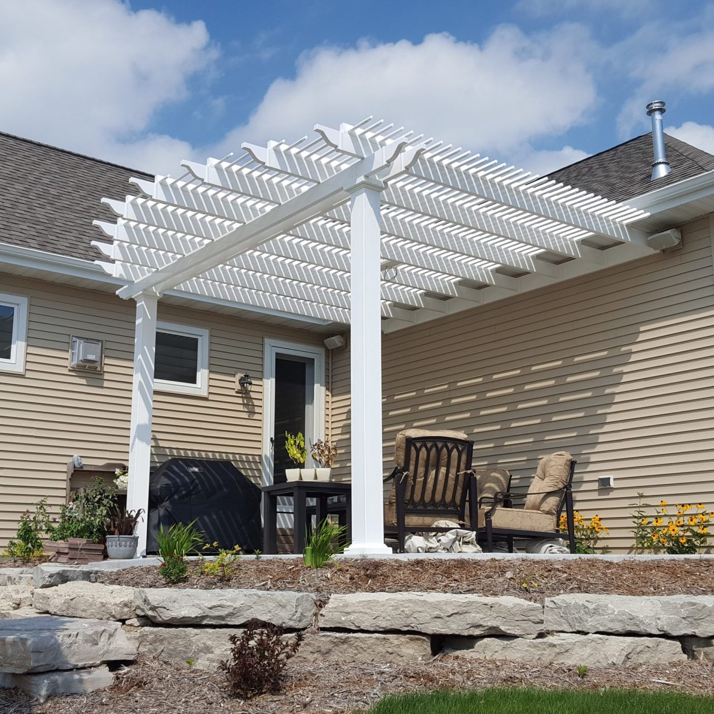 Attached Custom Pergola with Rounded Rafters