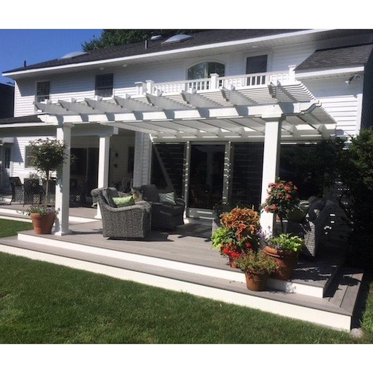 Attached White Pergola with Wide Porch