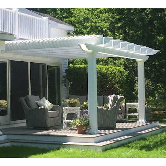 Attached 10' x 10' White Pergola Kit - White Vinyl w/ Aluminum Frame - by Sunset Pergolas