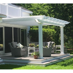 Traditional Attached White Pergola by Sunset Pergola Kits