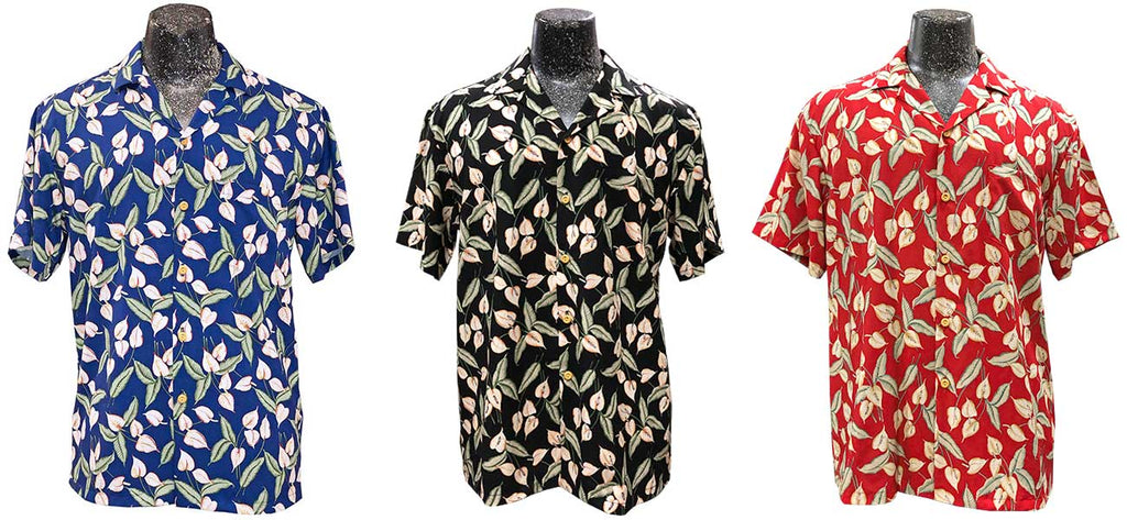 Mini Anthurium Hawaiian Shirts in blue, black, and red