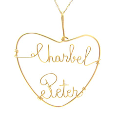Heart Shaped Dual Name Personalized Wire Gold Filled Pendant