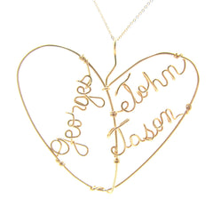 Heart Shaped Triple Name Hubby & Kids Personalized Wire Gold Filled Pendant