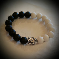 Yinyang Bracelet Made With Matte Black Onyx Beads And Matte White Beads with Buddah Head
