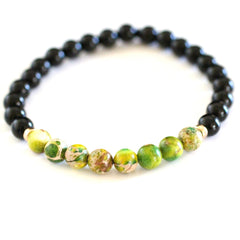 6mm Black Onyx Beads with 6mm Green Regalite Beads & 14 KT Gold Filled Beads Bracelet