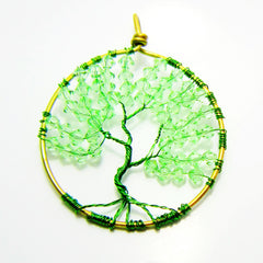 Traditional Tree of Life Pendant - Green Swarovski beads