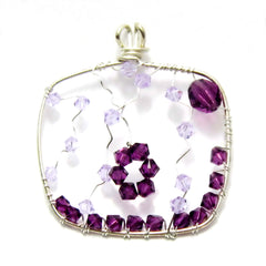 Sterling Silver Square Pendant - Purple Swarovski Beads