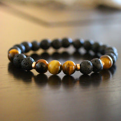Lava Beads with Tiger Eye Beads and 14 KT Gold Filled Beads Bracelet
