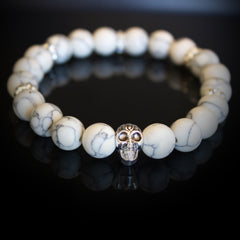 Howlite Gemstone Bracelet with Silver Buddah Head and Silver Plated decoration elements