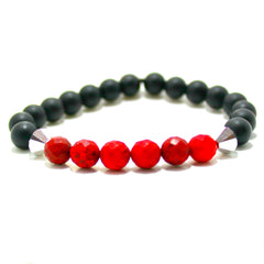 Matte Black Onyx Beads with Faceted Red Crazy Lace Agate Beads & Silver Swarovski Crystals