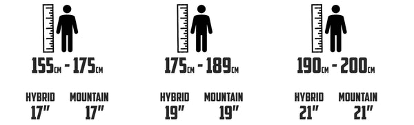 Mountain and Hybrid Change Bike Size Guide
