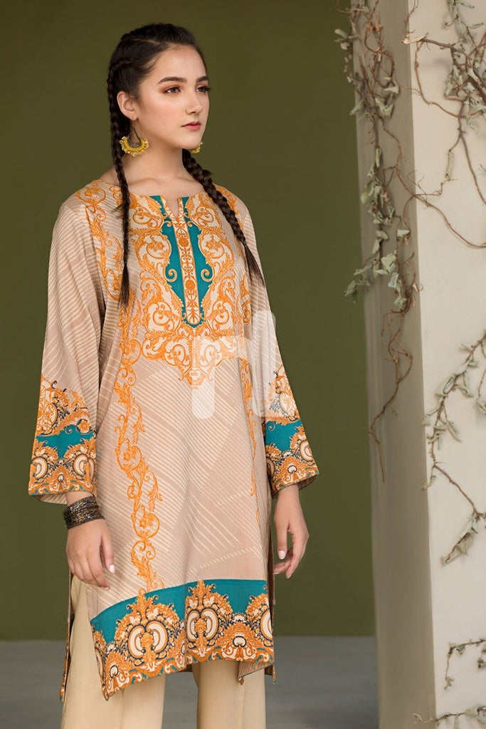 PDW18-11 Orange Stitched Linen Suit- 3PC - Nishat Linen UAE