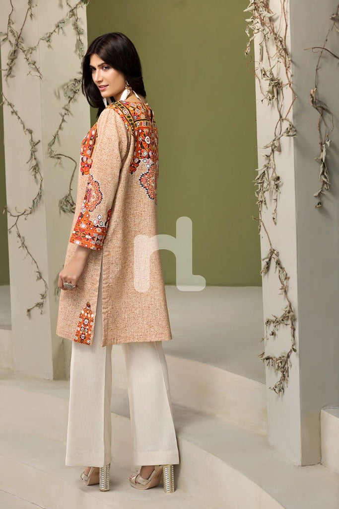 PDW18-02 Orange Printed Cotton Karandi Shirt and Trouser- 2PC - Nishat Linen UAE