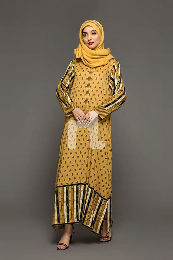 DW18-24 Yellow Digital Printed Stitched Cotton Modal Jalabiya - 1PC - Nishat Linen UAE