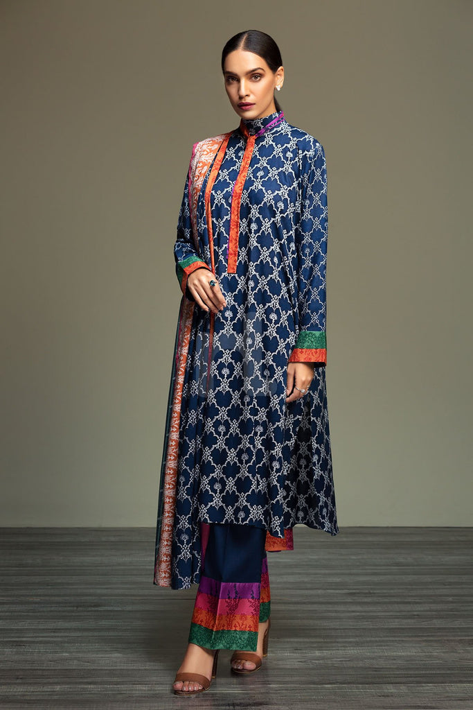 41901082-Linen - Blue Printed 3PC - Nishat Linen UAE