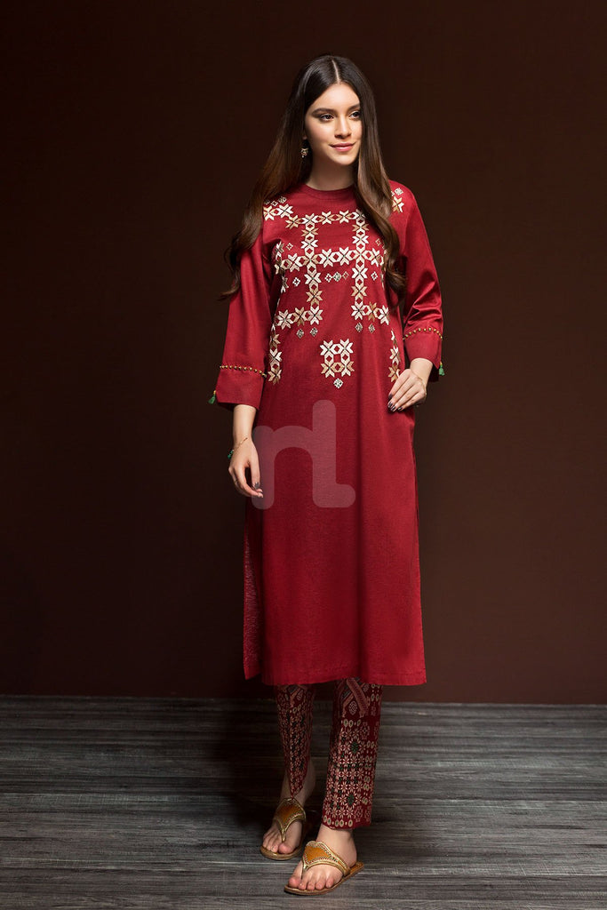 41901167-Karandi - Red Dyed Embroidered 2PC - Nishat Linen UAE