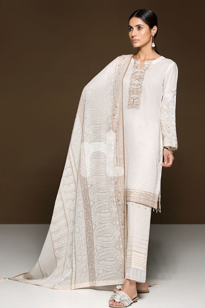 41906091 Lawn & Voil - White Printed Embroidered 3PC - Nishat Linen UAE