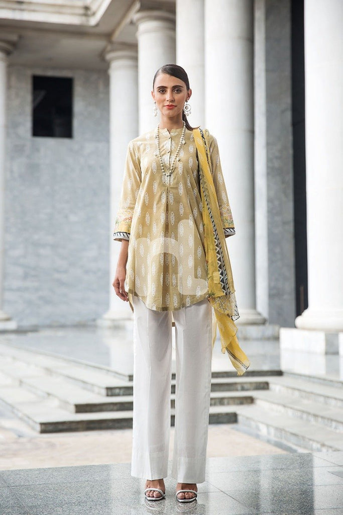 41907225-Blended Crinkle Chiffon & Slub Lawn - Brown Printed 2PC - Nishat Linen UAE