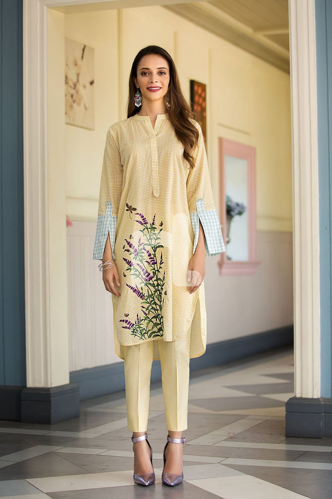 41907254-Slub Lawn & Cambric - Yellow Printed 2PC - Nishat Linen UAE