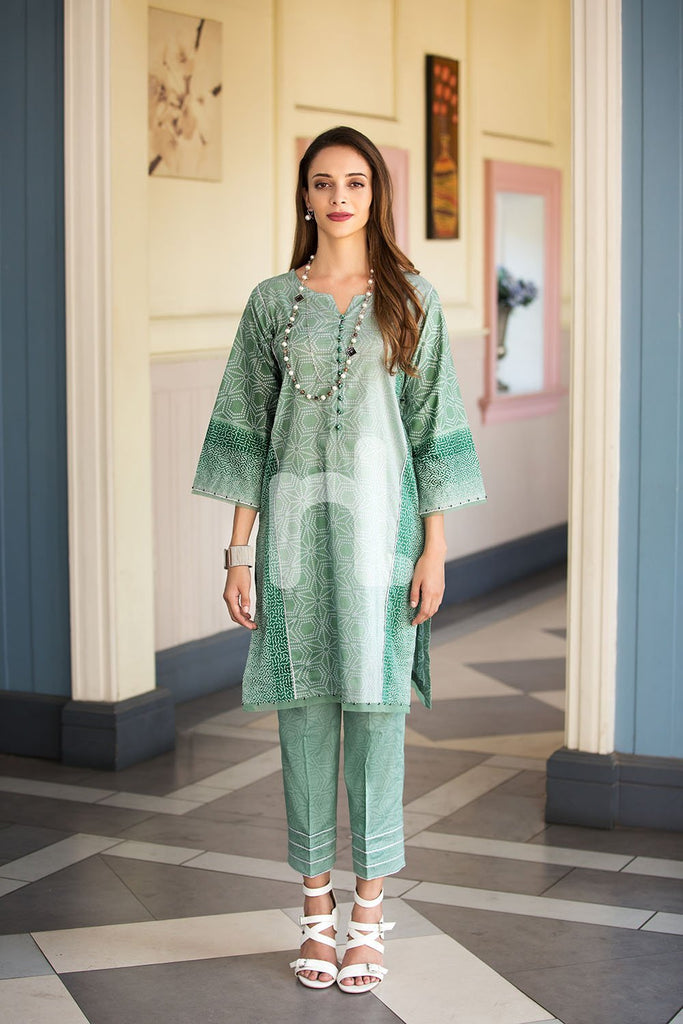 41907256-Slub Lawn & Cambric - Green Printed 2PC - Nishat Linen UAE