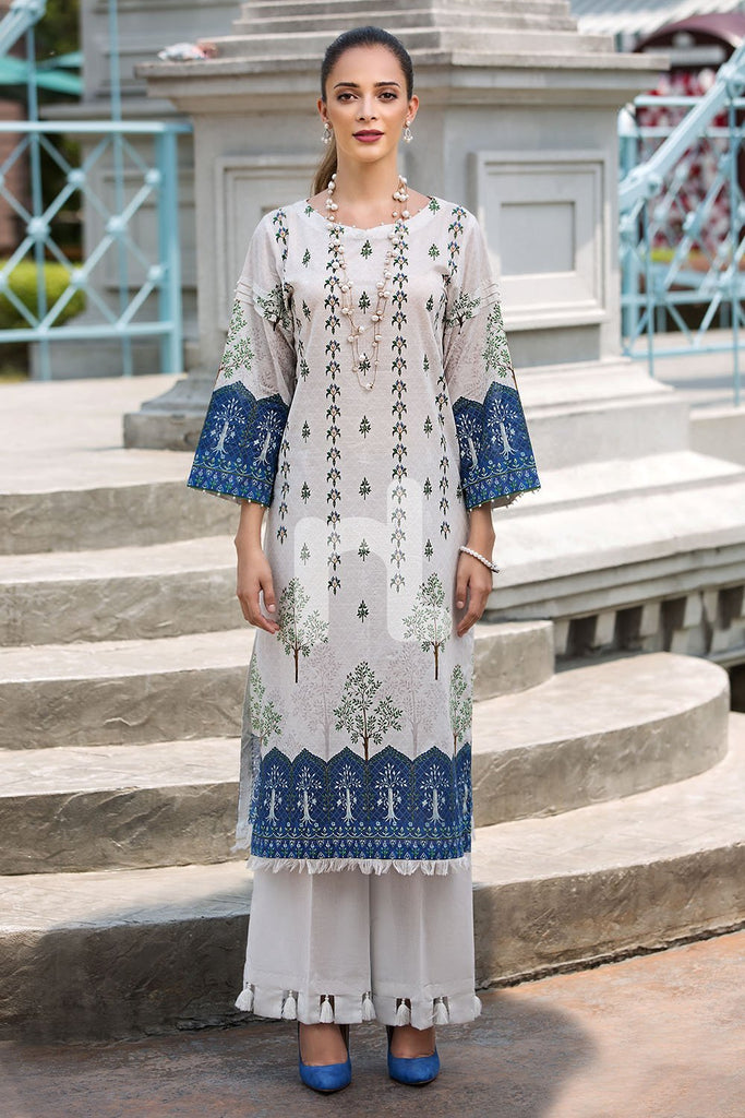 41907268-Slub Lawn & Cambric - White Digital Printed 2PC - Nishat Linen UAE