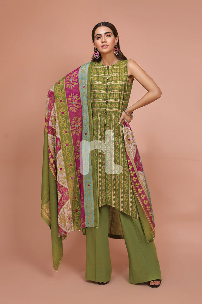 41907522-Voil, Slub Lawn & Cambric - Green Printed 3PC - Nishat Linen UAE