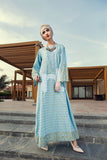 DE19-32 Blue Digital Printed Stitched Pima Cotton Jalabiya - 1PC