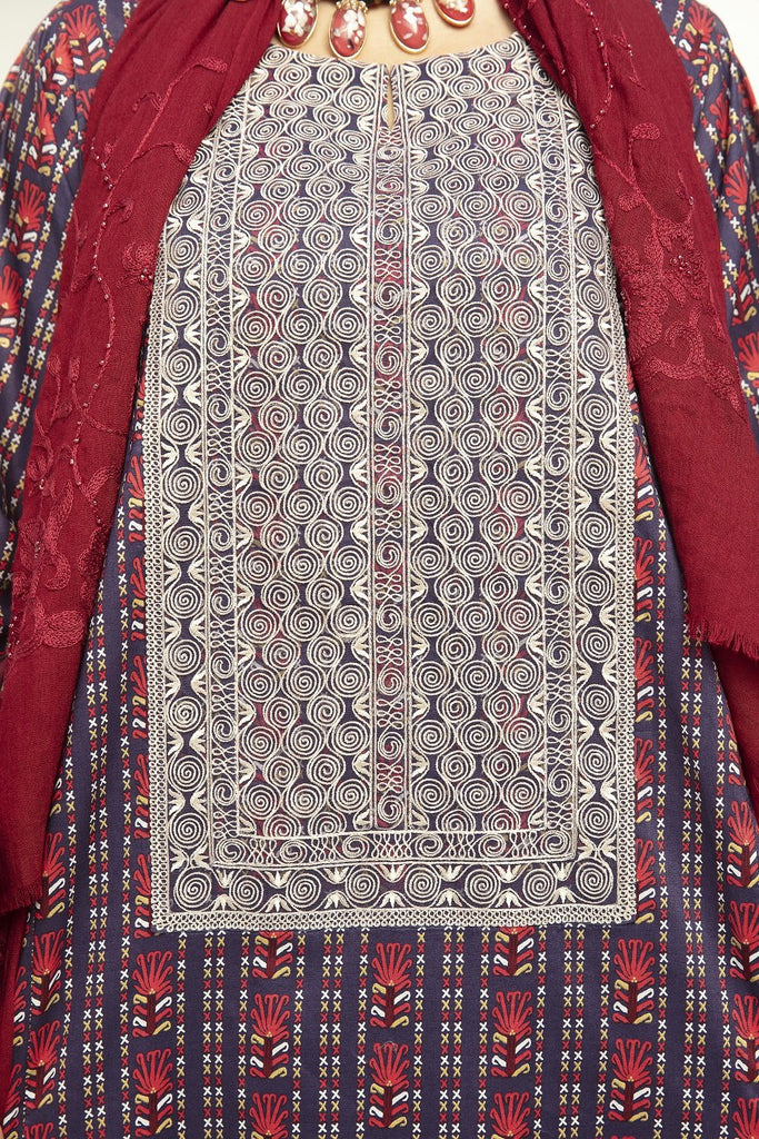 DE20-29 Printed Embroidered Stitched Jalabiya – 1PC - Nishat Linen UAE