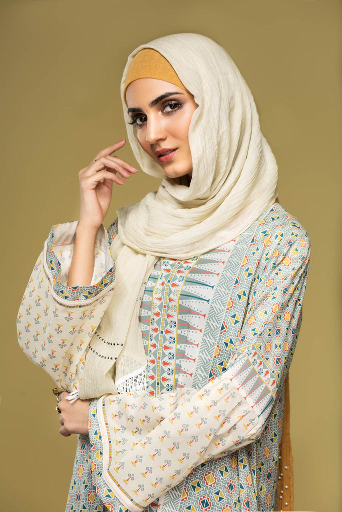 DS20-04 Printed Stitched Jalabiya – 1PC - Nishat Linen UAE