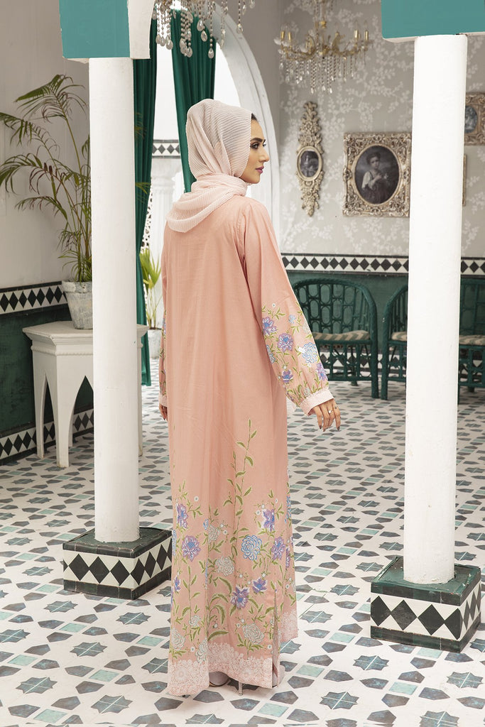 DS20-112 Printed Embroidered Stitched Jalabiya - 1PC