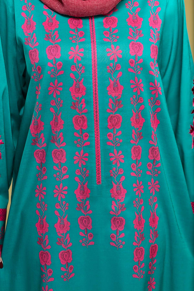 DS20-11 Printed Embroidered Stitched Jalabiya – 1PC - Nishat Linen UAE