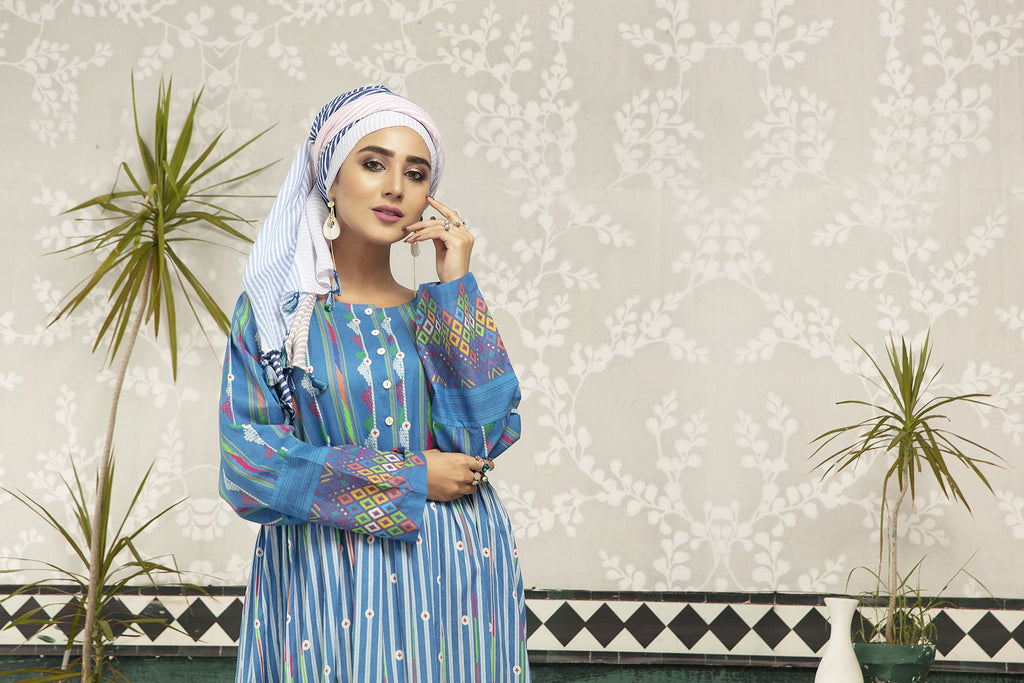 DS20-77 Printed Stitched Jalabiya – 1PC - Nishat Linen UAE