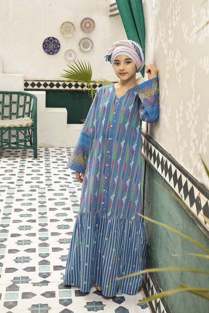 DS20-78 Printed Stitched Jalabiya for Kids – 1PC - Nishat Linen UAE